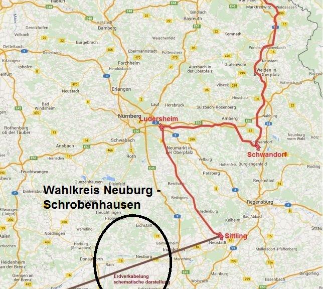 Stromtrasse Süd Ost Neuer Verlauf
